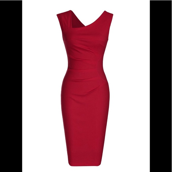 5cd36c7c97d Womens Retro 1950s Style Sleeveless Slim Red Dress